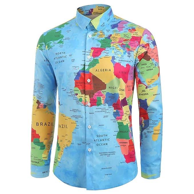 Mens Earth Printed T Shirt Long Sleeve Basic Shirts Slim Fit Casual Tops Blouses
