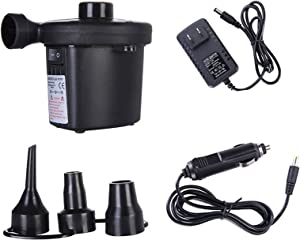 Electric Air Pump Portable Air Quick-Fill AC Inflator with 3 Nozzles, 110V AC/12V DC for Outdoor Camping, Inflatable Cushions, Air Beds, Swimming Ring,Bed Boat