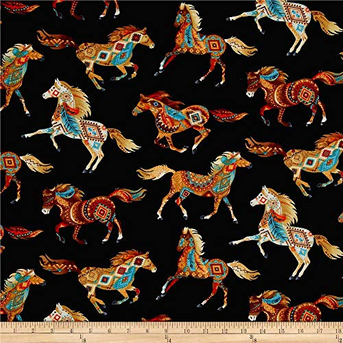 Timeless Treasures Out West Southwest Horses Fabric by The Yard, Black