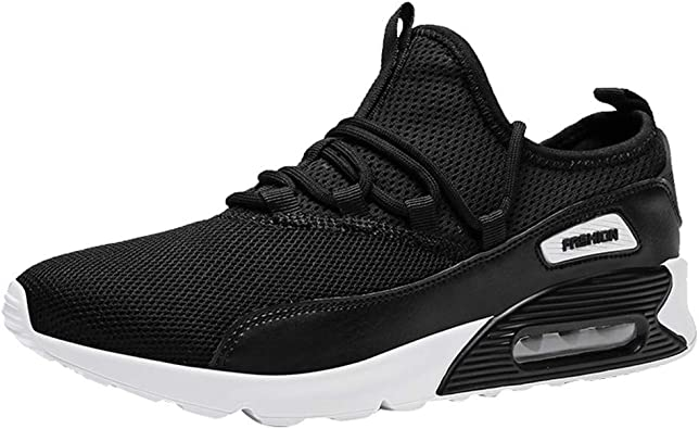 ZARLLE_ Hombre Zapatillas Formadores acoplamiento respirable, zapatos casuales, antideslizantes, Peso ligero para correr, colchón de aire, calzado deportivo, zapatos de trabajo De los hombres Negro 33: Amazon.es: Zapatos y complementos