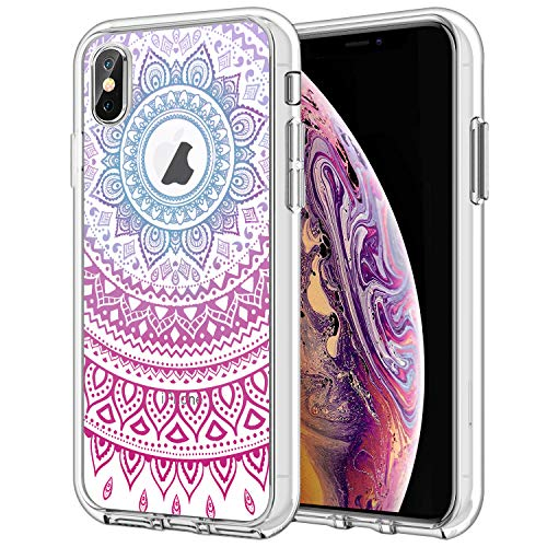 Hybrid Ultra Clear Case for iPhone Xs / iPhone X, Gradient Henna Mandala Transparent Hard Back Case Cover for Girls and Women, TPU Shockproof Frame Rigid PC Protective Back Plate for iPhone Xs/X 5.8