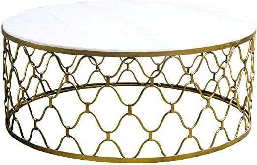 Goxjng Modern Round Coffee Table Little Marble Side Table Sofa End