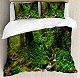 Landscape Duvet Cover Set by Ambesonne, Rainforest Trees and Fresh Grass in Nepal Jungle Wildlife Nature Tropical Photo, 3 Piece Bedding Set with Pillow Shams, Queen / Full, Green Brown