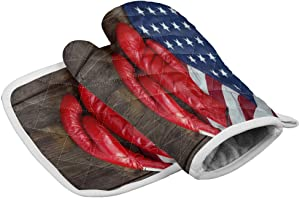 Chic Decor Home Set of Oven Mitt and Pot Holder American Flag Red Boxing Gloves Oven Gloves Heat Resistance Non-Slip Surface for Kitchen BBQ Cooking Baking Grilling,Old Wooden