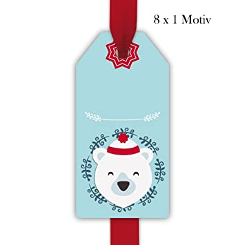 8 Cute Polar Bear Christmas Gift Tags Card Paper Tag Hanging Labels Size 55 X