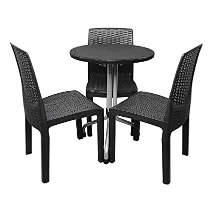 Kingdoor Chair Round Table Set, 4 Piece Outdoor Patio Furniture Dining  Garden Bar Detachable