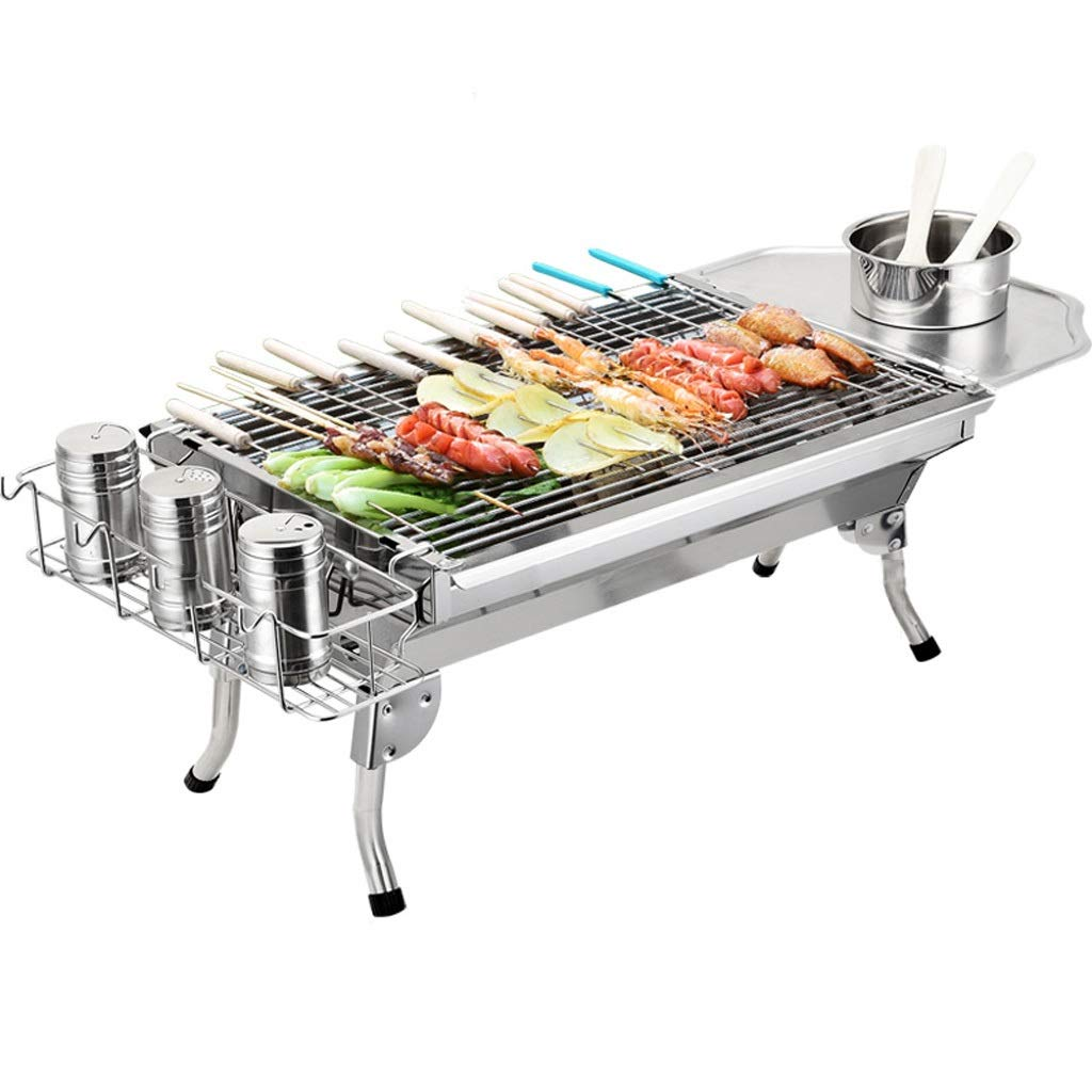WANG XIN Stainless Steel Grill Household Charcoal Grill Outdoor Portable Folding BBQ Stove Carbon Field Silver