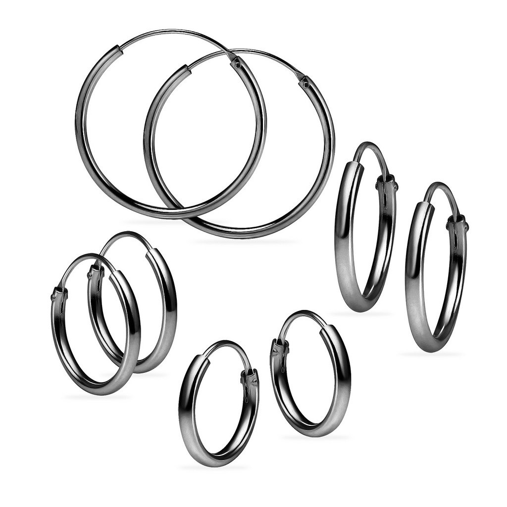 Set of Four Sterling Silver Small Endless 1.2mm x 10mm, 12mm, 14mm & 24mm Lightweight Thin Round Unisex Hoop Earrings Black Flashed Rhodium Finish