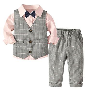 3d71739f062ec Tovadoo ベビー服 フォーマル 子供スーツ セットアップ 3点セット 上下セット シャツ+ズボン+ベスト