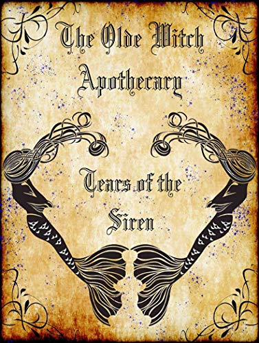 American Collectibles The Olde Witch Apothecary Siren Mermaid Tears Spell Ingredients Halloween Metal Sign -