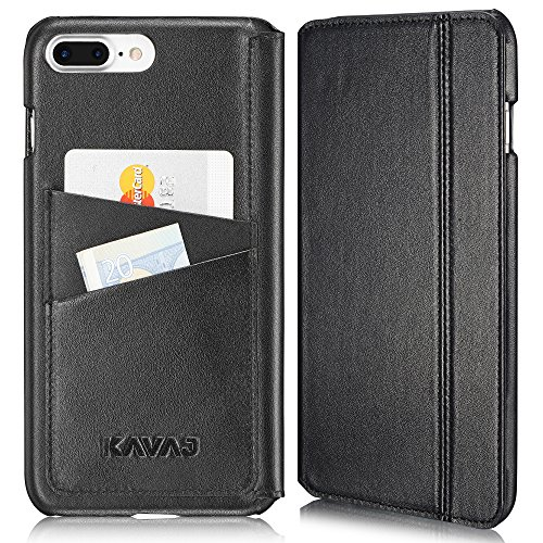 KAVAJ iPhone 8 Plus iPhone 7 Plus Case Leather Dallas Black Slim-Fit Genuine Leather iPhone 8 Plus Wallet Case Leather Flip Case Folio Business Card Holder Cover Book Case for Apple iPhone8 Plus