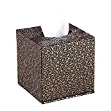 YJY Vintage Floral Tissue Holder Box Cover - Decorative Roll Facial Paper Dispenser Case for Bathroom Toilet Kitchen Office Car - Square(14 Black Gold)