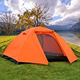 Backpacking Tent - 2 Person Camping Hiking Double Layer Backpacking Tent w/ Rainfly (Orange)