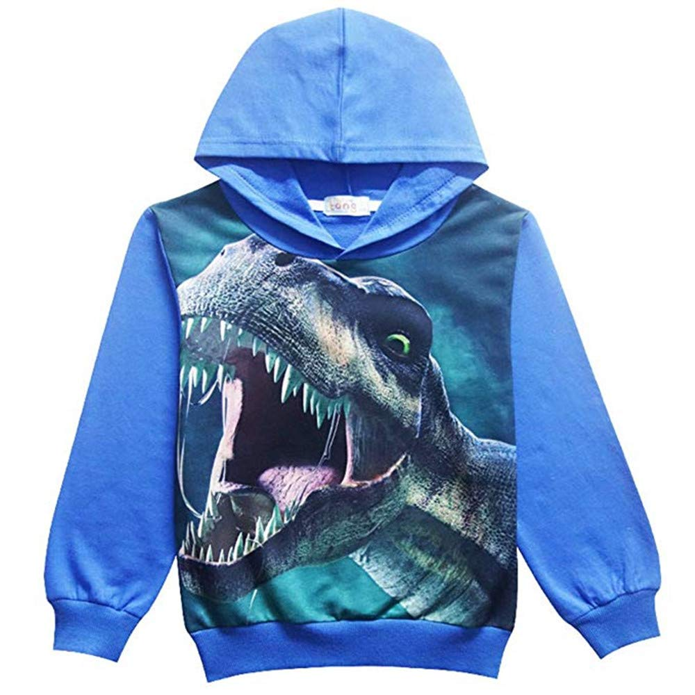 BABSUE Kids Boys Toddler Hoodie Dinosaur Sweatshirts Long Sleeve Hot Top Cartoon Hooded Casual Outfit 4-8 T