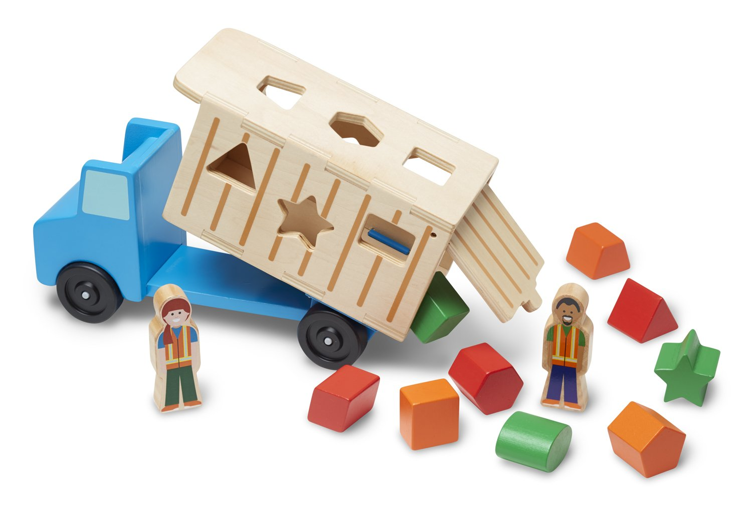 Melissa & Doug Shape-Sorting Wooden Dump Truck Toy, Quality Craftsmanship, 9 Colorful Shapes and 2 Play Figures, 7.5'' H x 10.75'' W x 4.75'' L by Melissa & Doug (Image #1)