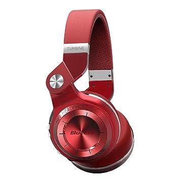 Bluedio T2 Plus Auriculares inalambricos Bluetooth 4.1 con Radio incorporada y Ranura de Tarjeta Micro SD (Rojo)