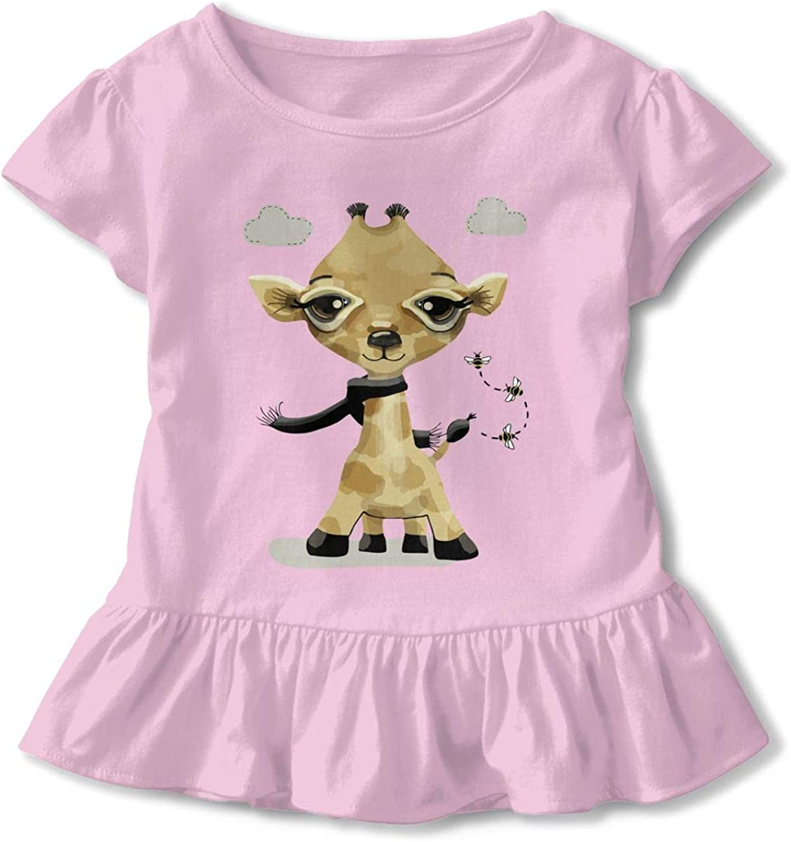 Adorable Giraffe Baby Girls Cotton Ruffle Top T-Shirt Flounces Dress Toddler Girls Dress Top
