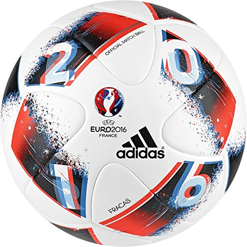 White Soccer Ball Official (adidas Performance Euro 16 Official Match Soccer Ball, Size 5, White/Bright Blue/Solar Red/Silver Metallic)