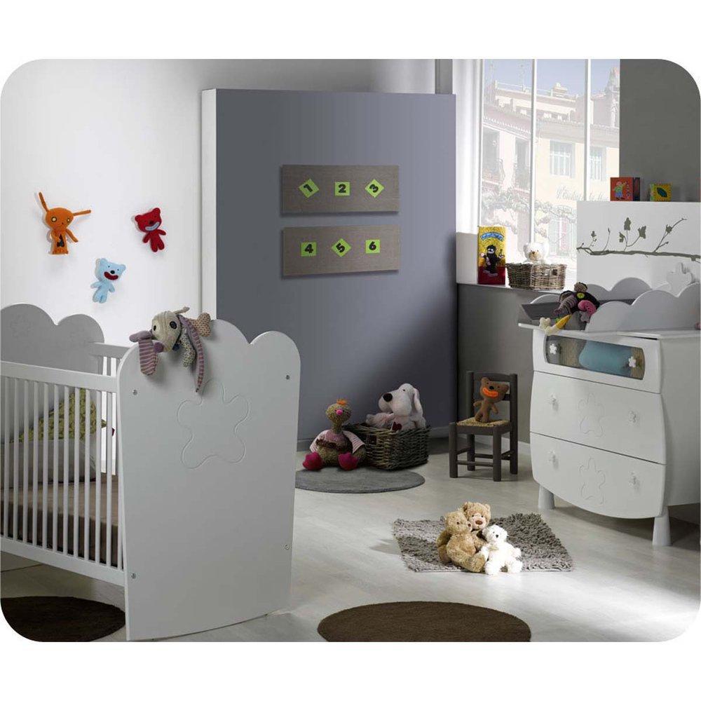 Mini Babyzimmer Linea weiß mit Gitterbettchen und Wickelfläche