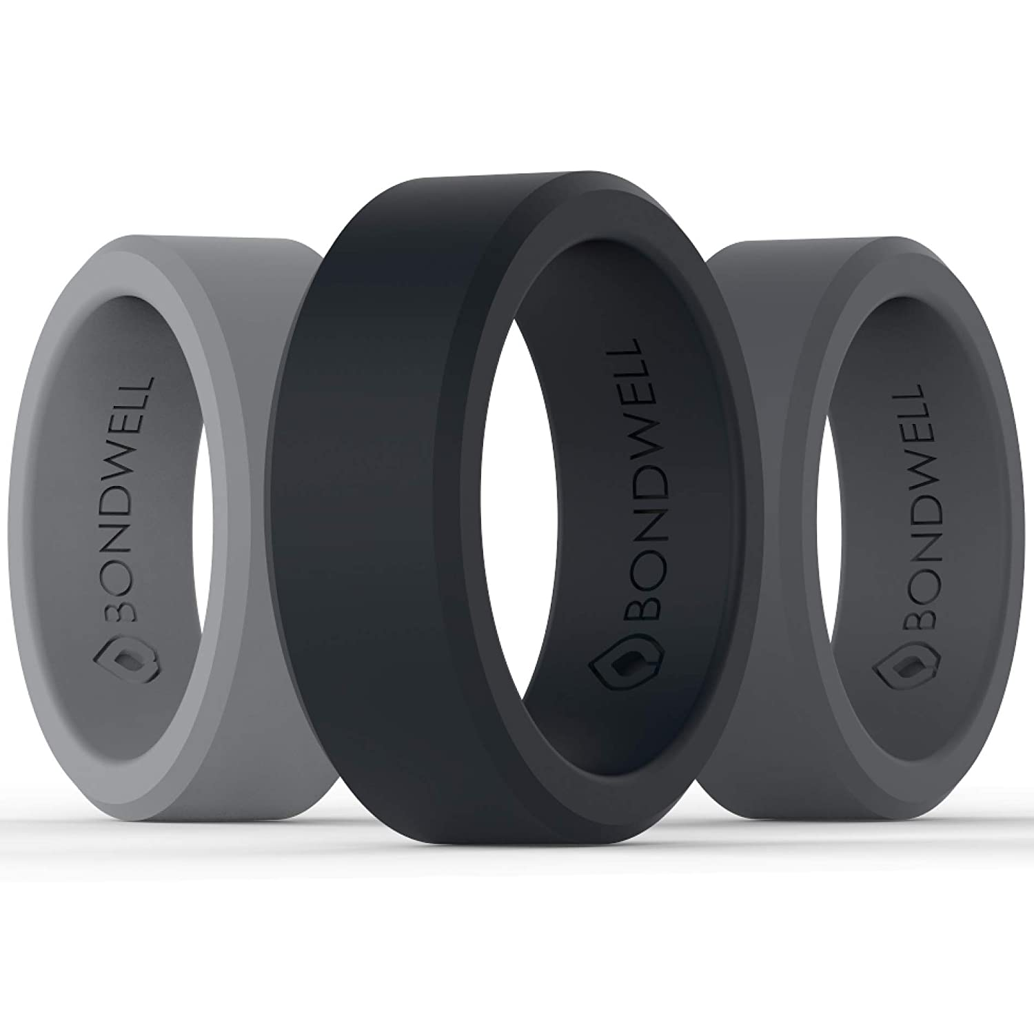 BONDWELL Silicone Wedding Ring for Men Save Your Finger & A Marriage Safe, Durable Rubber Wedding Band for Active Athletes, Military, Crossfit, Weight Lifting, Workout - 100% Guarantee