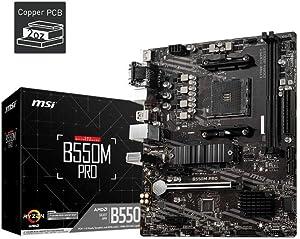 MSI B550M PRO ProSeries Motherboard (Support 3rd Gen AMD Ryzen, AM4, DDR4, PCIe 4.0, SATA 6Gb/s, M.2, USB 3.2 Gen 1, HDMI/DP, Micro-ATX)