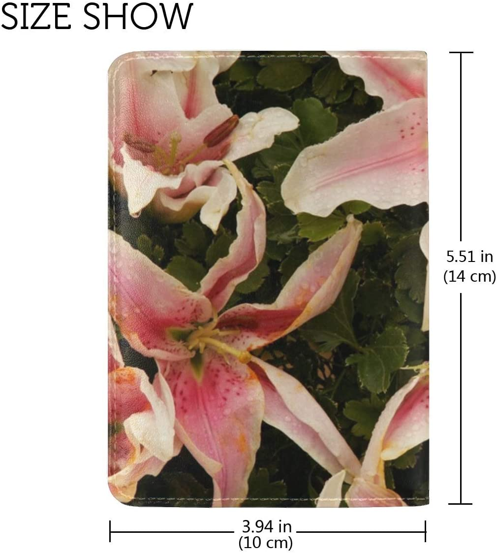 Lilies Flowers Stamens Petals Close-up Leather Passport Holder Cover Case Travel One Pocket