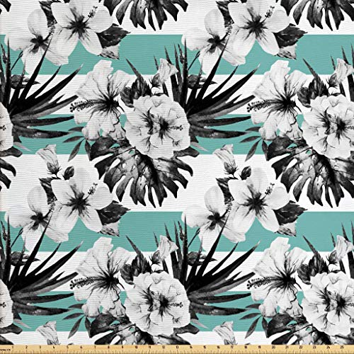 - Ambesonne Floral Fabric by The Yard, Exotic Watercolor Hibiscus Flower Graphic Art Print Tropical Inspired Boho, Decorative Fabric for Upholstery and Home Accents, 1 Yard, Grey White Teal