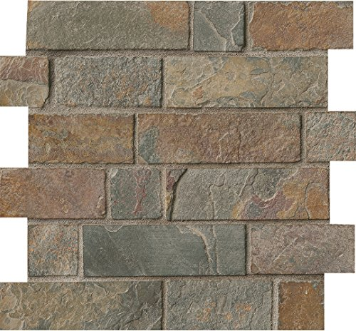 MS International Brick-CG California Gold x 12 in. x 10 mm Tumbled Slate Mesh-Mounted Tile, (10 sq. ft./case), Mosaic