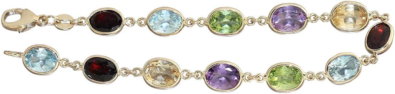 Piedra Hobra-oro 585 de cadena de oro con piedras preciosas Multicolour Collar OD pulsera