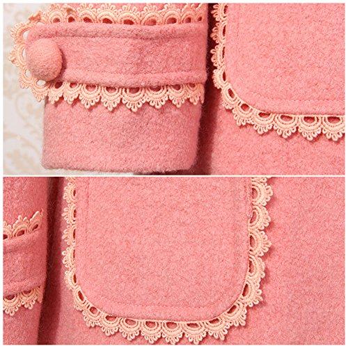 LSERVER Girl's Elegant Faux Fur Woolen Collar Fashion Warm Blended Winter Coat Lace Flower Princess Bowknot Jacket Pink by LSERVER (Image #6)