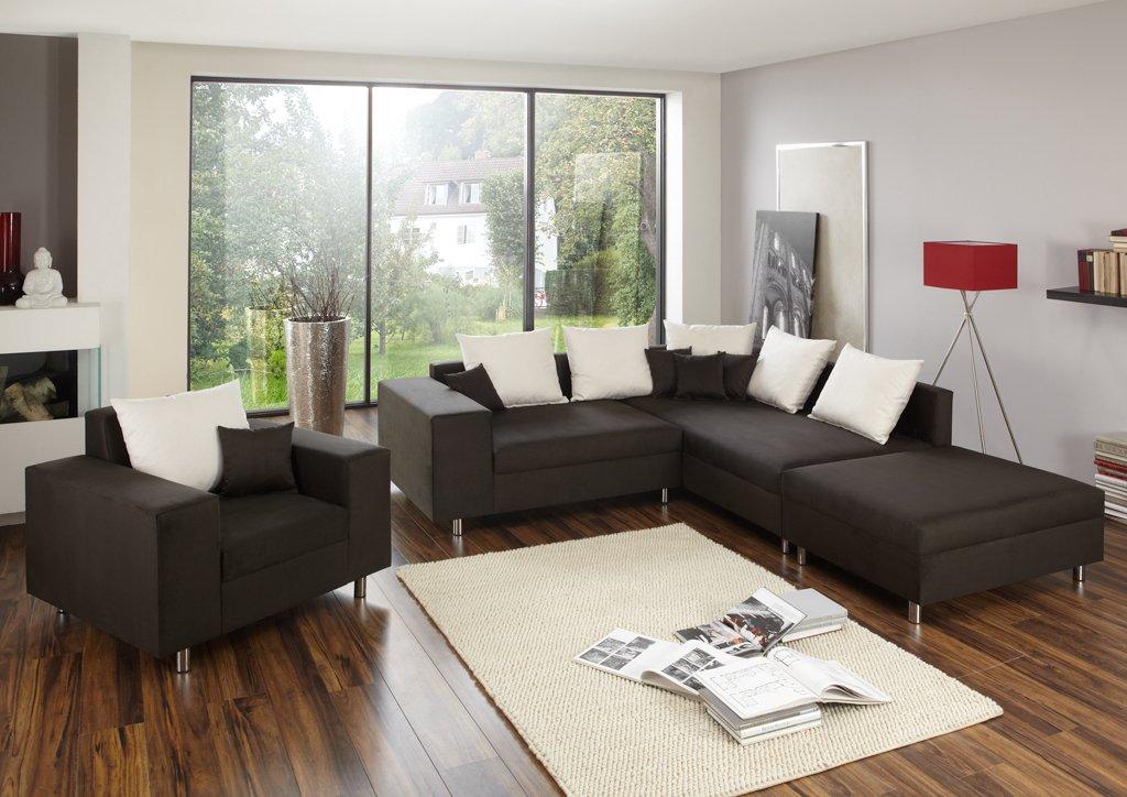 Ecksofa Happy mit Hocker und Sessel - Made in Germany - Freie Farbwahl ohne Aufpreis aus unserem Noble Lux Sortiment (ca. 70 Farben). Nahezu jedes Sondermaß möglich! Sprechen Sie uns an. Info unter 05226-9845045 oder info@highlight-polstermoebel.de