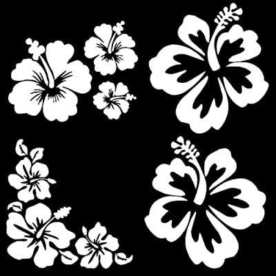 Hibiscus Decal 4 Pack, Hawaiian Hibiscus Flower Decals (Hibiscus White): Home & Kitchen