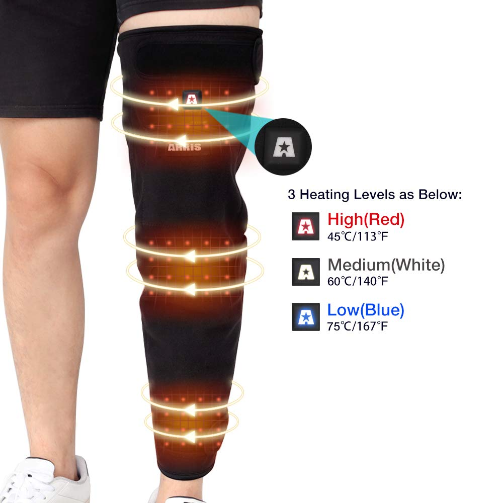 ARRIS Full Leg Heated Wrap - Electric Heating Pad for Knee, Calf, Thigh, Leg, Arm - 7.4V Battery Powered Heat Brace for Increasing Circulation, Relieve Joint, Rheumatic Arthritis Pain, for Men Women by ARRIS