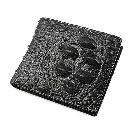 Yamyannie Crédito Tarjetas Billetera Cartera Corta de Piel de cocodrilo Monedero Corto de Cuero Vintage para