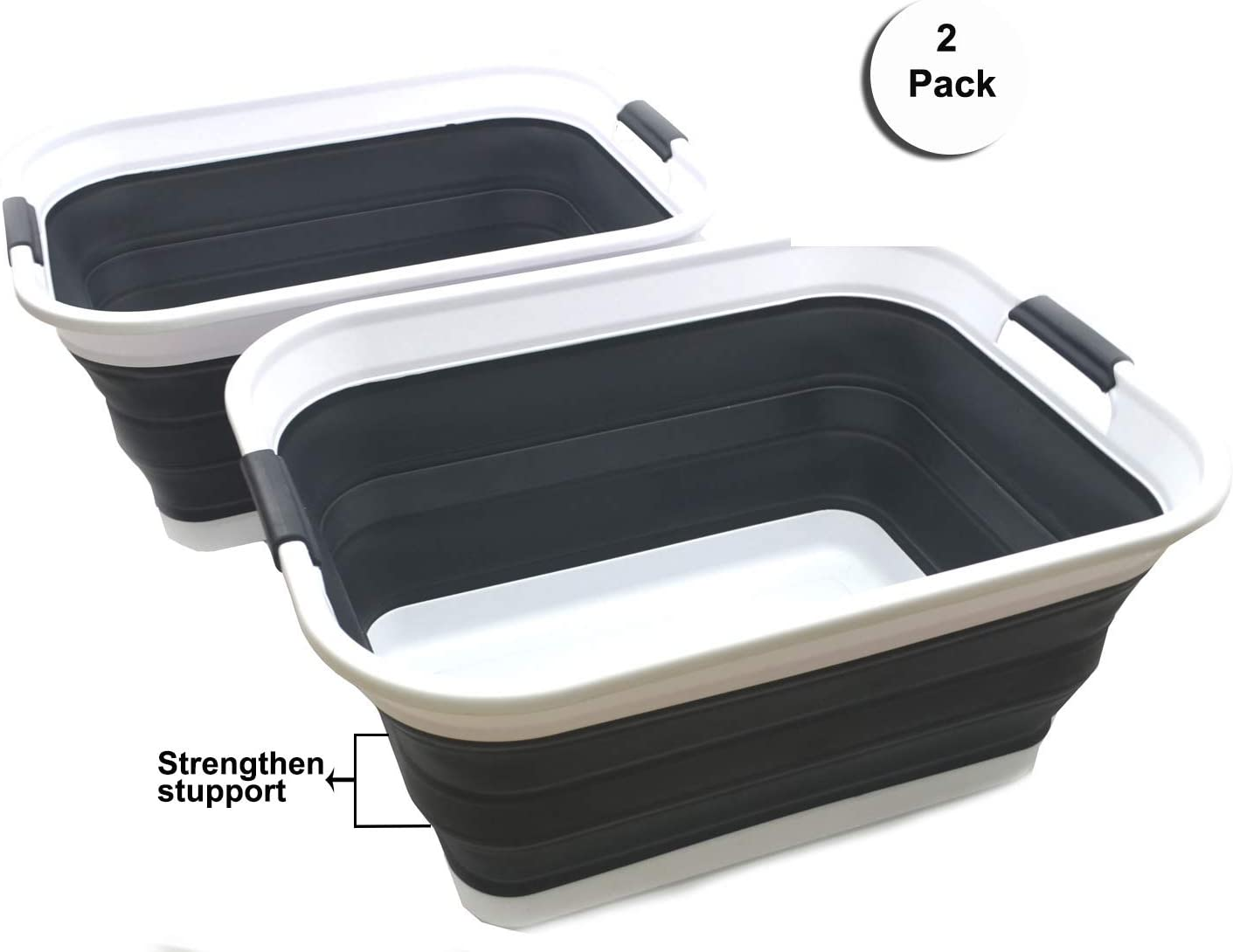 SAMMART Set of 2 Collapsible Plastic Laundry Basket - Foldable Pop Up Storage Container/Organizer - Portable Washing Tub - Space Saving Hamper/Basket (2 Rectangular - Strengthen, Black)