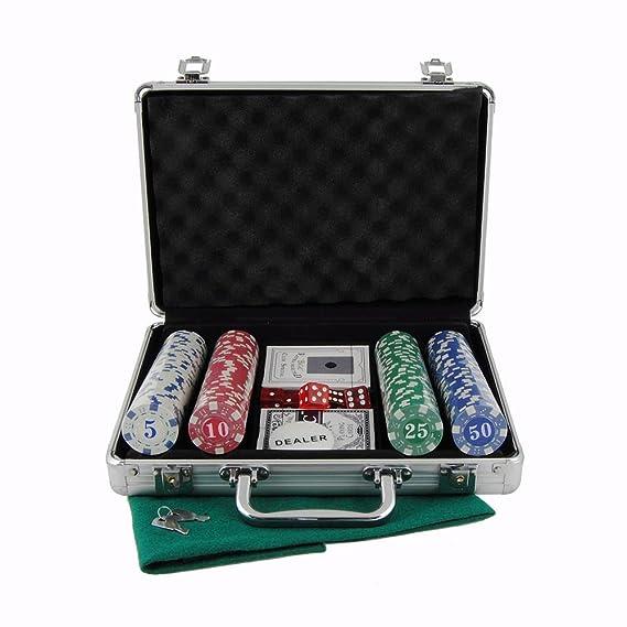 Maletin estuche de poker en aluminio de 200 fichas