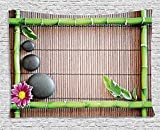 XHFITCLtd Meditation Tapestry, Spa Frame with Spiritual Stones Bamboo Stems Orchid Petals Yoga Zen Philosophy, Wall Hanging for Bedroom Living Room Dorm, 80 W X 60 L Inches, Multicolor