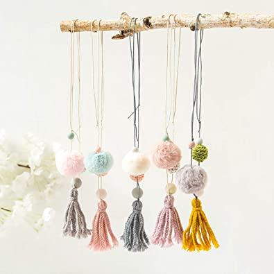 VEINTI+1 Original Design Fabric Lovely Hairy Ball with Tassels Children Long Necklace Clothing Accessory