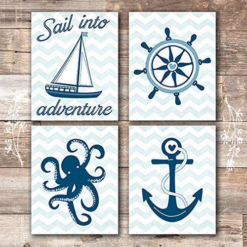Nautical Nursery Wall Decor Art Prints (Set of 4) - Unframed - 8x10s