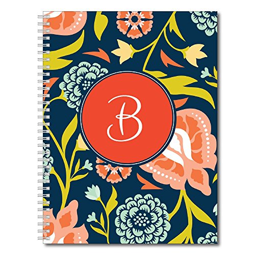 Sophisticated Floral Personalized Monogram Spiral Notebook / Journal, 120 College Ruled or Checklist Pages, durable laminated cover, and wire-o spiral. 8.5x11 | 5.5x8.5 | Made in the (Monogram Paper)