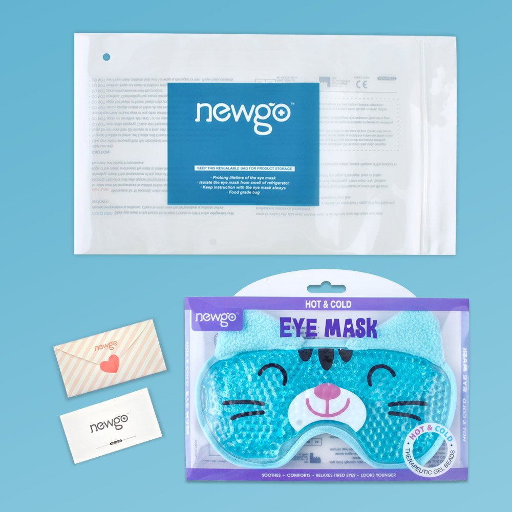 Hot Cold Face Eye Mask for Hot or Cold Therapy, Microwave Travel Sleep Eye Mask with Gel Beads, Cute Soft Ice Compress Eye Pad with Straps for Soothing Puffy Eyes, Swollen Eyes, Dark Circles, Stress by NEWGO (Image #7)