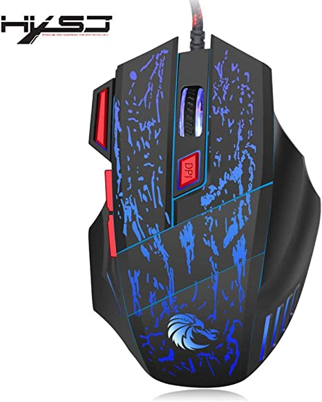 Ergonomic Surface Reduces Hand Fatigue and 4 Adjustable DPI Options Gaming Mouse Has 7 Buttons and 7 Color Breathing Lights