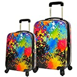 2 Piece Paint Abstract Splash Design Expandable Spinner Lightweight Luggage Suitcases, Graphic Trendy Colors Theme, Hardsided, Hardshell, Multi Compartment, Fashionable Handle Travel Cases, Multicolor