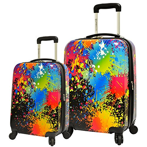 2 Piece Paint Abstract Splash Design Expandable Spinner Lightweight Luggage Suitcases, Graphic Trendy Colors Theme, Hardsided, Hardshell, Multi Compartment, Fashionable Handle Travel Cases, Multicolor by S & E