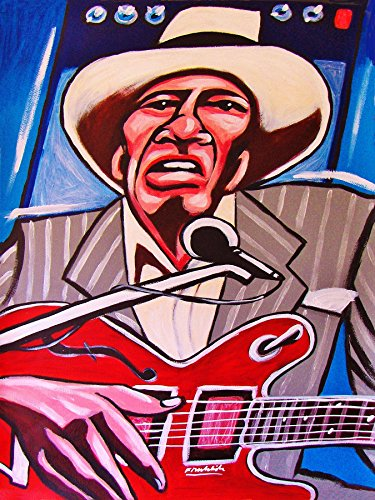 (DAVID HONEYBOY EDWARDS ORIGINAL PAINTING-man cave art-gibson guitar-cd record album vinyl lp-mississippi delta bluesman I've been around )