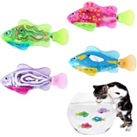 Interactive Swimming Robot Fish Toy for Cat Dog, Automatic Cat Pounce Teaser Toy with LED Light, Cat Catch Interactive Light Toy Training Tool for Cat Dog Pet Kittens Kitty Puppy 4 Pack (Random Color)