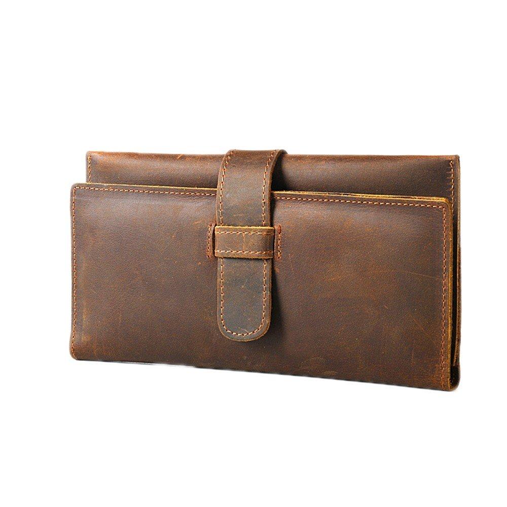 Wallet Cowhide, Handbag, Long Leather, Leather, Cowhide, Handbag, Men'S Card, Coffee Color.
