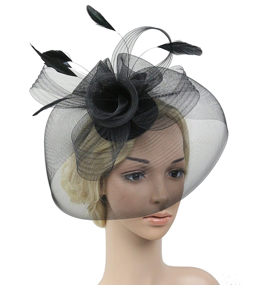 Urban CoCo Women's Elegant Flower Feather and Veil Fascinator Cocktail Party Hair Clip Hat (Black)