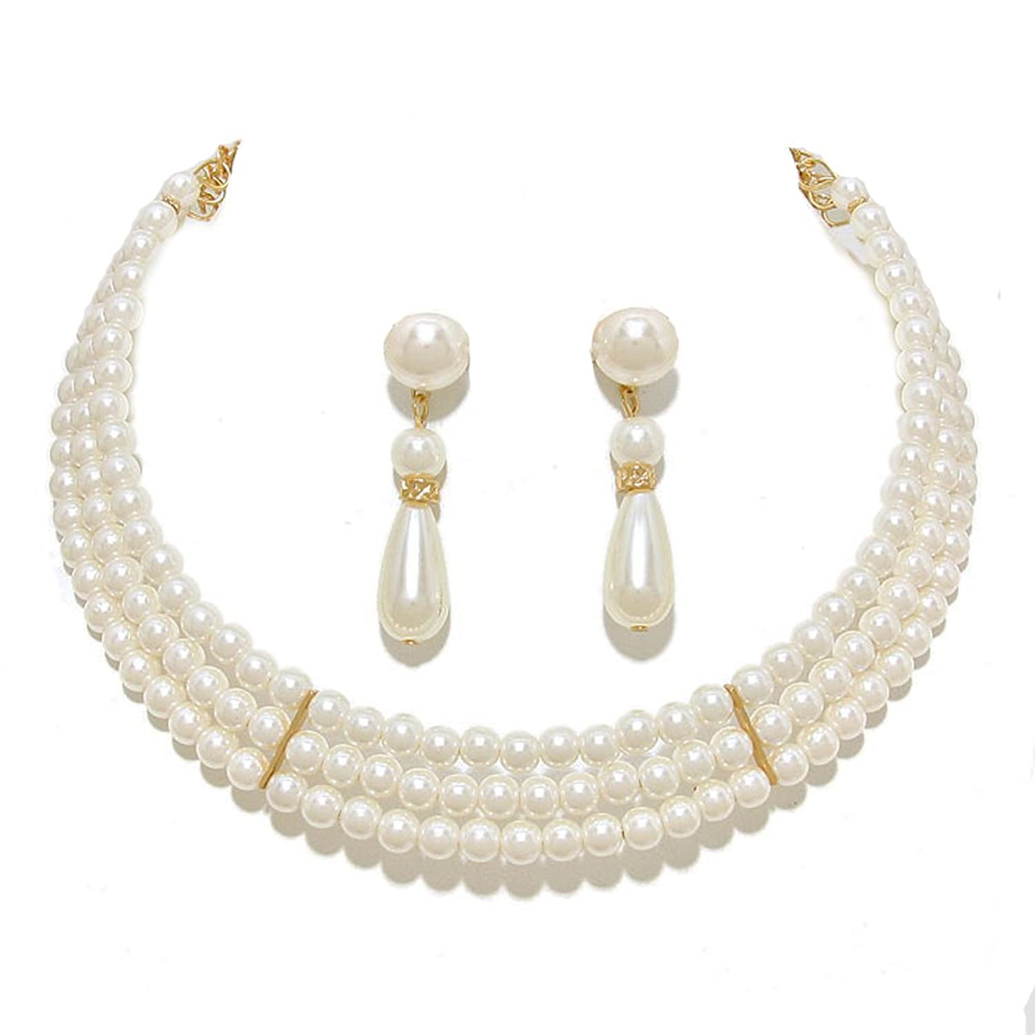 1950s Jewelry Styles and History 3 Rows Elegant Simulated Pearl Choker Necklace Pierced Earring 2 Set $9.99 AT vintagedancer.com