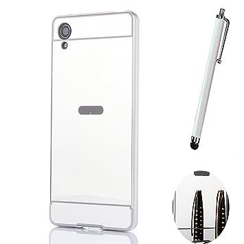 Funda Espejo Aluminio Metal Carcasa para Sony Xperia X Color Plata